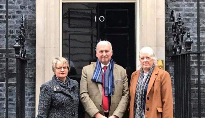 Photograph of Caroline and Carol with Ian Ward at Downing Street