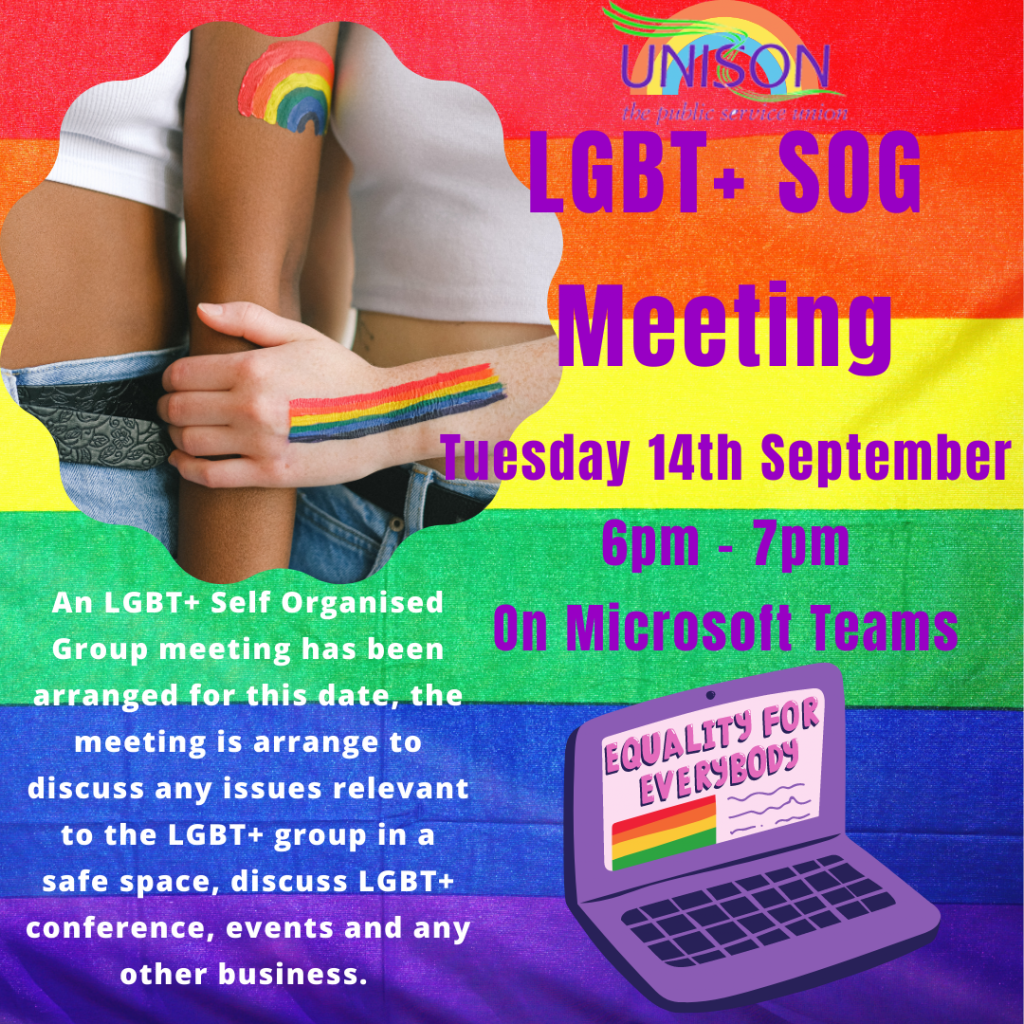 A graphic to advertise the meeting with the same info as the text above and the image of a laptop with 'equality for everybody' on the screen